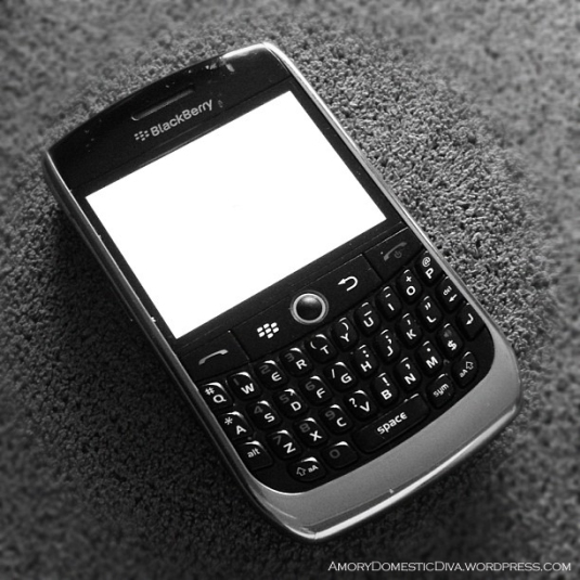 My old Blackberry with its perennial white screen... sometimes it's black.